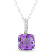 1.34ct Cushion Cut Amethyst & Round Diamond Pendant & Chain Necklace in 14k White Gold