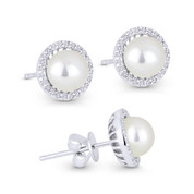 6mm Freshwater Pearl & 0.16ct Round Cut Diamond Halo Stud Earrings in 14k White Gold