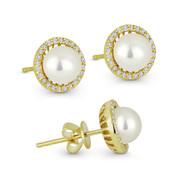 6mm Freshwater Pearl & 0.16ct Round Cut Diamond Halo Stud Earrings in 14k Yellow Gold