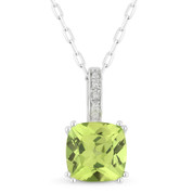 1.55ct Cushion Cut Peridot & Round Diamond Pendant & Chain Necklace in 14k White Gold