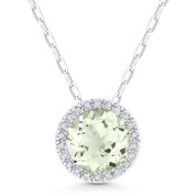 1.30ct Round Cut Green Amethyst & Diamond Circle Halo Pendant & Chain Necklace in 14k White Gold