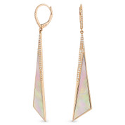 Pink Mother-of-Pearl & 0.30ct Diamond Pave Dangling Fancy Triangle Stiletto Earrings in 14k Rose Gold