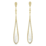 Mother-of-Pearl & 0.48ct Diamond Pave Dangling Tear-Drop Earrings in 14k Yellow Gold