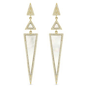 White Mother-of-Pearl & 0.52ct Diamond Pave Dangling Multi-Triangle Stiletto Earrings in 14k Yellow Gold