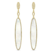 Mother-of-Pearl & 0.57ct Diamond Pave Dangling Multi-Oval Long Earrings in 14k Yellow Gold