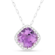 1.43ct Cushion Cut Purple Amethyst & Round Diamond Halo Pendant & Chain Necklace in 14k White Gold