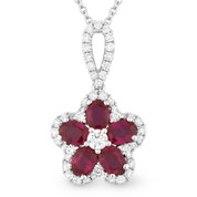 1.46ct Oval Cut Ruby & Round Diamond Pave Flower Pendant in 18k White Gold w/ 14k Chain Necklace