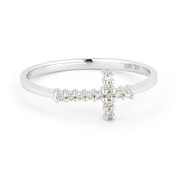 0.07ct Round Cut Diamond Sideways Cross Right-Hand Promise Ring in  14k White Gold