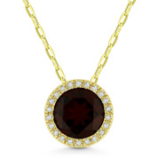 1.72ct Round Cut Garnet & Diamond Circle Halo Pendant & Chain Necklace in 14k Yellow Gold