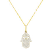0.10ct Round Cut Diamond Hamsa Hand Evil Eye Charm Pendant in 14k Yellow Gold w/ Chain Necklace