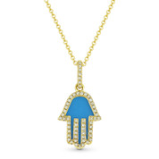 0.68ct Blue Turquoise & Diamond Hamsa Hand Evil Eye Charm Pendant in 14k Yellow Gold w/ Chain Necklace