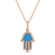 0.68ct Blue Turquoise & Diamond Hamsa Hand Evil Eye Charm Pendant in 14k Rose Gold w/ Chain Necklace