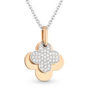 0.13ct Round Cut Diamond 4-Petal Flower Charm Pendant & Chain Necklace in 14k Rose & White Gold
