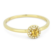 0.14ct Round Cut Citrine & Diamond Circle-Halo Promise Ring in 14k Yellow Gold