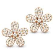 0.76ct Round Cut Diamond Pave Flower Charm Stud Earrings in 14k Rose Gold