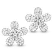 0.76ct Round Cut Diamond Pave Flower Charm Stud Earrings in 14k White Gold