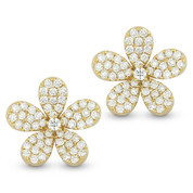 0.76ct Round Cut Diamond Pave Flower Charm Stud Earrings in 14k Yellow Gold