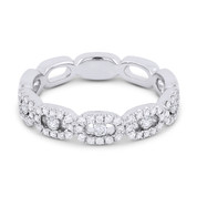 0.31ct Round Brilliant Cut Diamond Pave Right-Hand Band in 14k White Gold