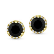 1.45ct Round Brilliant Cut Black Onyx & Diamond Halo Martini Stud Earrings in 14k Yellow Gold