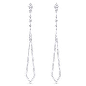 0.42ct Round Cut Diamond Pave Dangling Open Arrow-Stiletto Earrings w/ Pushbacks in 14k White Gold