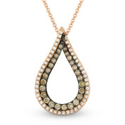 0.52ct White & Brown Diamond Open Tear-Drop Pendant & Chain Necklace in 14k Rose & Black Gold