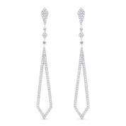 0.39ct Round Cut Diamond Pave Dangling Open Arrow-Stiletto Earrings w/ Pushbacks in 14k White Gold