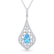 1.04ct Pear-Shaped Blue Topaz & Diamond Edwardian-Style Pendant & Chain Necklace in 14k White Gold