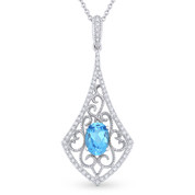 1.05ct Oval Cut Blue Topaz & Diamond Edwardian-Style Pendant & Chain Necklace in 14k White Gold