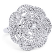1.47ct Round Cut Diamond Pave Cluster Flower-Design Cocktail / Statement Ring in 18k White Gold