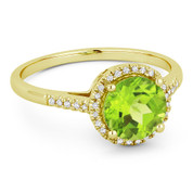 1.52ct Round Brilliant Cut Peridot & Diamond Halo Promise Ring in 14k Yellow Gold