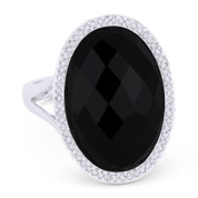 6.85 ct Checkerboard Oval Onyx & Round Cut Diamond Right-Hand Cocktail Ring in 14k White Gold