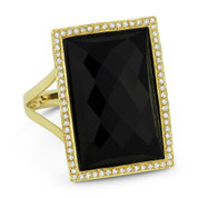 Checkerboard Cushion Black Onyx & 0.21ct Round Cut Diamond Rectangle-Halo Cocktail Ring in 14k Yellow Gold