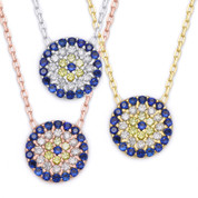 Evil Eye 10mm Circle Charm Pendant & Chain Necklace w/ Cubic Zirconia Crystals in .925 Sterling Silver - EYESN7