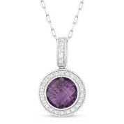 1.46ct Checkerboard Amethyst & Round Cut Diamond Halo Pendant & Chain Necklace in 14k White Gold
