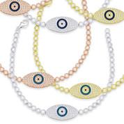 Evil Eye Enamel Bead Charm & Bezel Link Bracelet w/ CZ Crystals in .925 Sterling Silver - EYES66