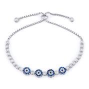 Evil Eye Multi-Charm & Bezel Link Slide-Lock Bracelet w/ Cubic Zirconia Crystals in .925 Sterling Silver - EYES72-BlueW