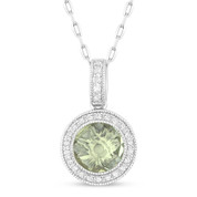 1.38ct Checkerboard Green Amethyst & Round Cut Diamond Halo Pendant & Chain Necklace in 14k White Gold
