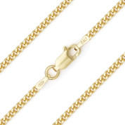 2.1mm (Gauge 060) Cuban / Curb Link Italian Chain Necklace in .925 Sterling Silver w/ 14k Yellow Gold Plating - CLN-CURB1-060-SLY