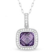 1.50ct Checkerboard Amethyst & Round Cut Diamond Halo Pendant & Chain Necklace in 14k White Gold