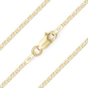 1.5mm (Gauge 040) Marina / Mariner Link Italian Chain Necklace in Solid .925 Sterling Silver w/ 14k Yellow Gold Plating - CLN-MARN1-040-SLY