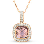 1.63ct Checkerboard Pink Amethyst & Round Cut Diamond Halo Pendant & Chain Necklace in 14k Rose Gold