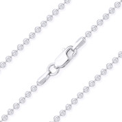 2.3mm Moon-Cut Ball Bead Link Italian Chain Necklace in .925 Sterling Silver w/ 14k Rhodium Plating - CLN-BEAD26-2.3MM-SLW