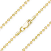 2.3mm Moon-Cut Ball Bead Link Italian Chain Necklace in .925 Sterling Silver w/ 14k Yellow Gold Plating - CLN-BEAD26-2.3MM-SLY