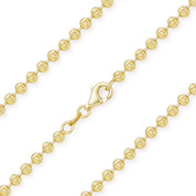 3.1mm Moon-Cut Ball Bead Link Italian Chain Necklace in .925 Sterling Silver w/ 14k Yellow Gold Plating - CLN-BEAD26-3.1MM-SLY