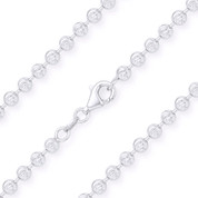 4.1mm Moon-Cut Ball Bead Link Italian Chain Necklace in .925 Sterling Silver w/ Rhodium Plating - CLN-BEAD26-4.1MM-SLW