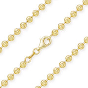4.1mm Moon-Cut Ball Bead Link Italian Chain Necklace in .925 Sterling Silver w/ 14k Yellow Gold Plating - CLN-BEAD26-4.1MM-SLY