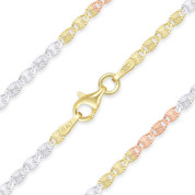 2.2mm Diamond-Cut Valentino Link Italian Chain Necklace in .925 Sterling Silver w/ Tri-Tone 14k Gold Plating - CLN-VAL2-2.2MM-SLRWY