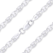 3.5mm Diamond-Cut Valentino Link Italian Chain Necklace in .925 Sterling Silver w/ Rhodium Plating - CLN-VAL2-3.5MM-SLW