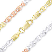 3.5mm Diamond-Cut Valentino Link Italian Chain Necklace in .925 Sterling Silver w/ Tri-Tone 14k Gold Plating - CLN-VAL2-3.5MM-SLRWY