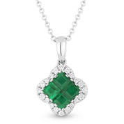 0.66ct Princess Cut Emerald Cluster & Round Diamond Pendant & Chain Necklace in 14k White Gold